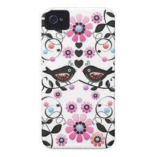 Romantic Love birds, Flowers & Swirls iPhone 4 Cover