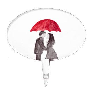Romantic love couple with red umbrella watercolor cake pick