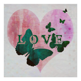Romantic Love, Heart and Butterflies Poster