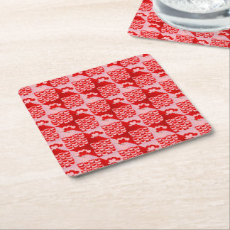 Romantic Love Hearts Pattern Red Pink Valentine Square Paper Coaster