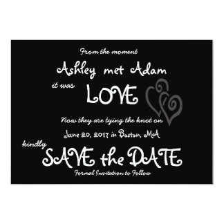Romantic Love Photo Save the Date   Chalkboard 13 Cm X 18 Cm Invitation Card