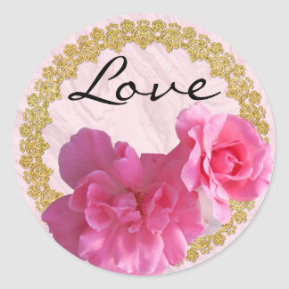 Romantic Love Stickers w Pink Roses & Gold Frame