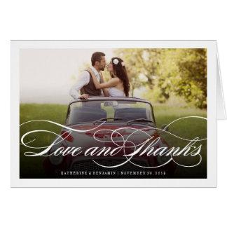 Romantic Love & Thanks Script Wedding Photo Card