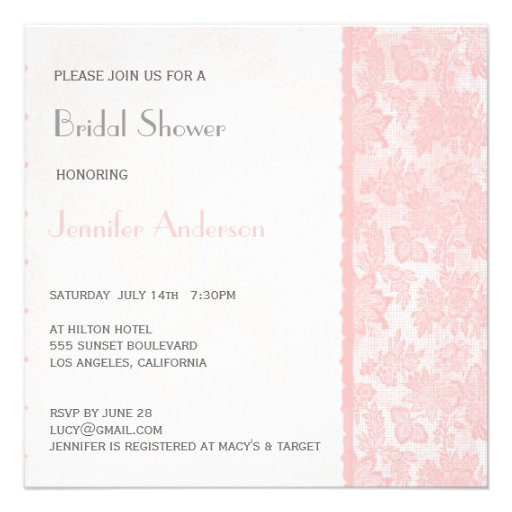 Romantic Lovely Lace Bridal Shower Invite