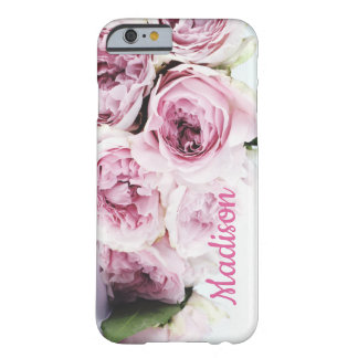 Romantic, lush, pastel pink roses bouquet name barely there iPhone 6 case