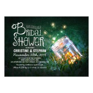 Romantic mason jar fireflies bridal shower announcements