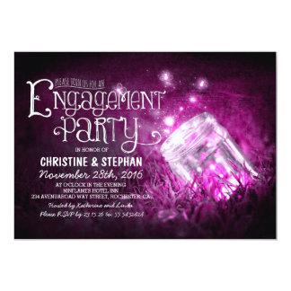 Romantic mason jar & fireflies engagement party personalized announcements