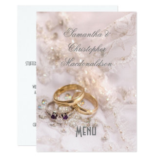 Romantic modern wedding menu card