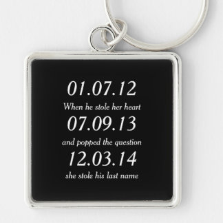 Romantic Moments Personalized Dates Custom Wedding Key Ring