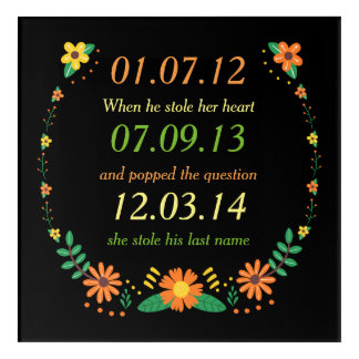Romantic Moments Personalized Dates Floral Wedding Acrylic Wall Art