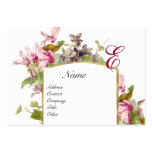 ROMANTIC MONOGRAM,Cyclamens pink green white Business Cards