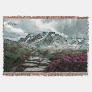 Romantic Mountains With Old Stone Road And Flowers