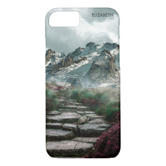 Romantic Mountains With Old Stone Road And Flowers iPhone 8/7 Case