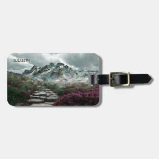 Romantic Mountains With Old Stone Road And Flowers Luggage Tag
