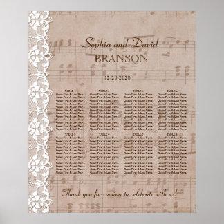 Romantic Music Sheet & Lace Wedding Seating Chart