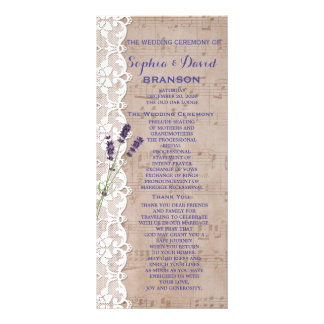 Romantic Music Sheet Lavender Program Custom Personalised Rack Card