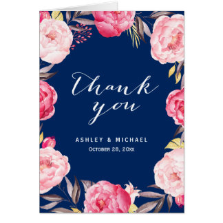 Romantic Navy Blue Pink Rose Flowers Thank You Note Card