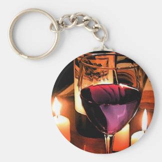 Romantic night basic round button key ring