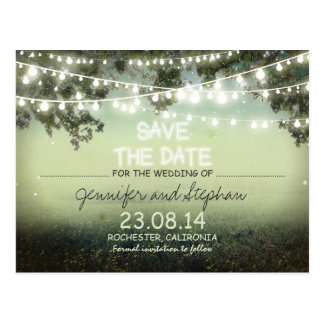 romantic night lights modern save the date postcard