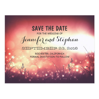 romantic night lights save the date postcards