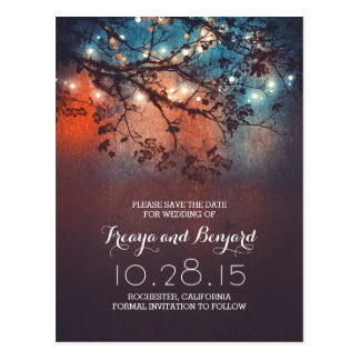 romantic night lights special rustic save the date postcard