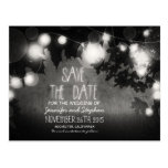 romantic night lights vintage save the date postcards