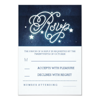 romantic night sky stars wedding RSVP cards