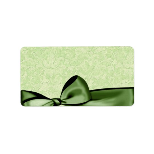 Romantic Olive Green Faux Satin Bow Wedding Favour Label
