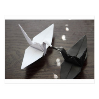 romantic origami cranes postcard