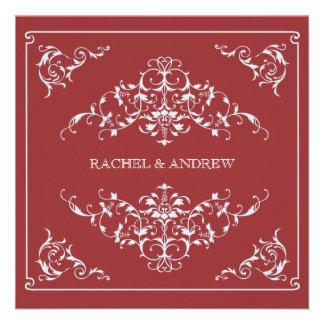 Romantic Ornaments Wedding Crimson Custom Announcements