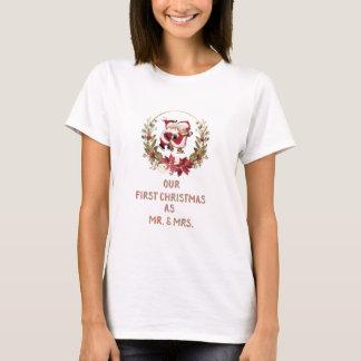 Romantic Our First Christmas Poinsettia Wreath T-Shirt