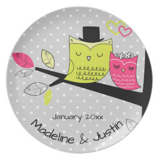 Romantic Owls Bride and Groom Plate