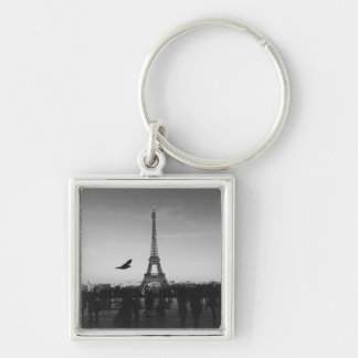 Romantic Paris Eiffel Tower Black and white Silver-Colored Square Key Ring