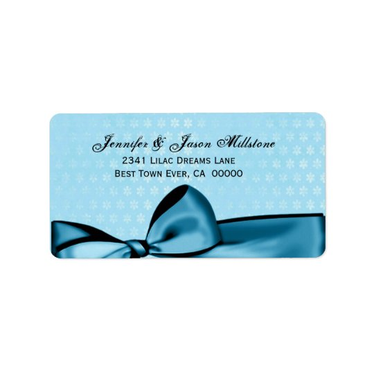 Romantic Pastel Blue Bow & Damask Wedding Label