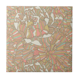 Romantic pattern made of peony flowers small square tile