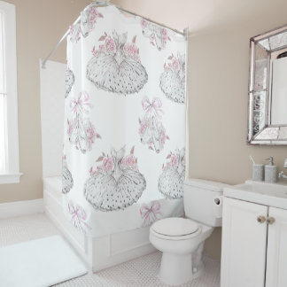 Romantic Pattern with Ballet Dresses and Ballet Sh Shower Curtain