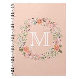 Romantic Peach Floral monogram Notebooks