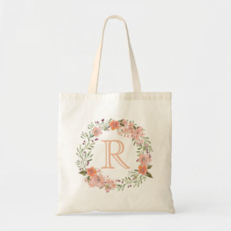 Romantic Peach Floral Monogram Tote Bag