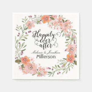 Romantic Peach Floral Wedding Disposable Napkin