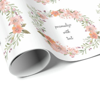 Romantic Peach Floral Wrapping Paper