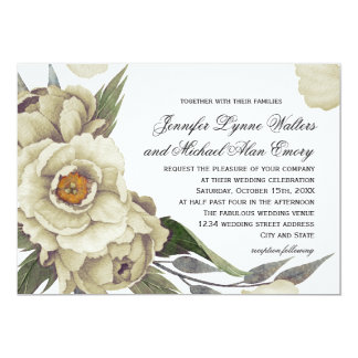 Romantic Peonies Floral Elegance Wedding 13 Cm X 18 Cm Invitation Card