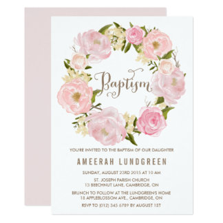 Romantic Peonies Wreath Baptism Invitation