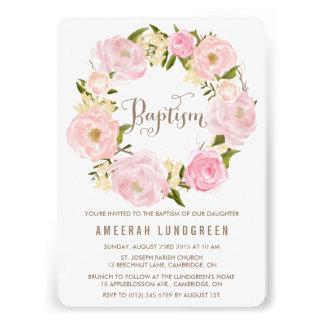 Romantic Peonies Wreath Baptism Invitation