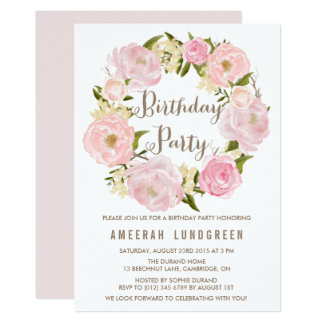 Romantic Peonies Wreath Birthday Party Invitation