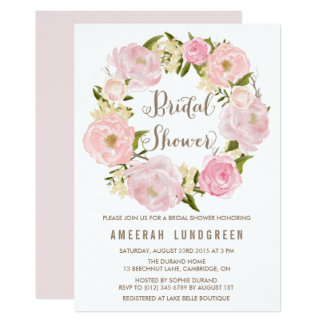 Romantic Peonies Wreath Bridal Shower Invitation