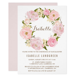 Romantic Peonies Wreath Christening Invitation II