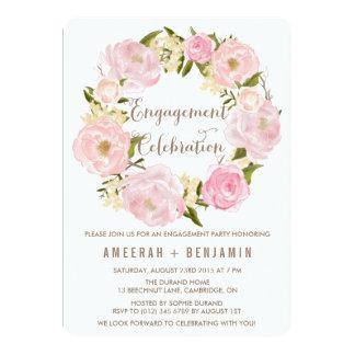 Romantic Peonies Wreath Engagement Invitation