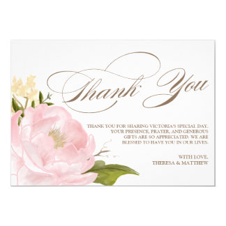 Romantic Peony Flower Flat Thnk You Card 13 Cm X 18 Cm Invitation Card