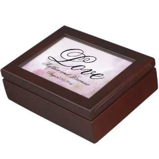 Romantic Personalized Pink Floral Love Keepsake Box