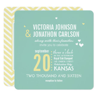 Romantic Photo Mint and Yellow Zig Zag Wedding Card